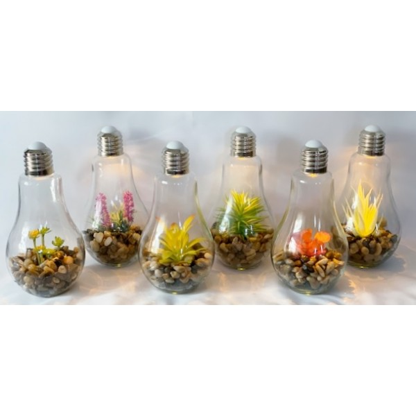 Glass light bulbs with artificial plants - NEW PRODUCT
