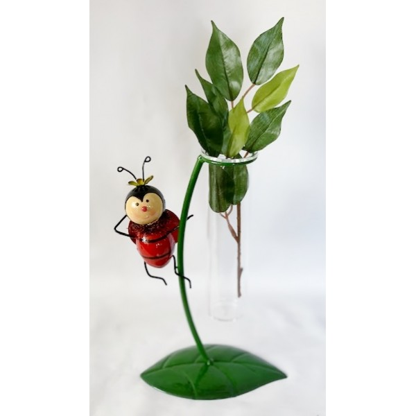 Glass/Metal bud holder - Ladybird