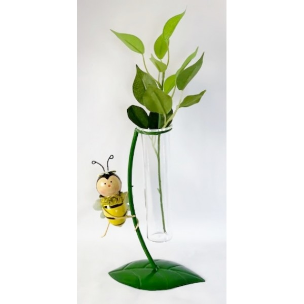 Glass/metal bud holder - Bee