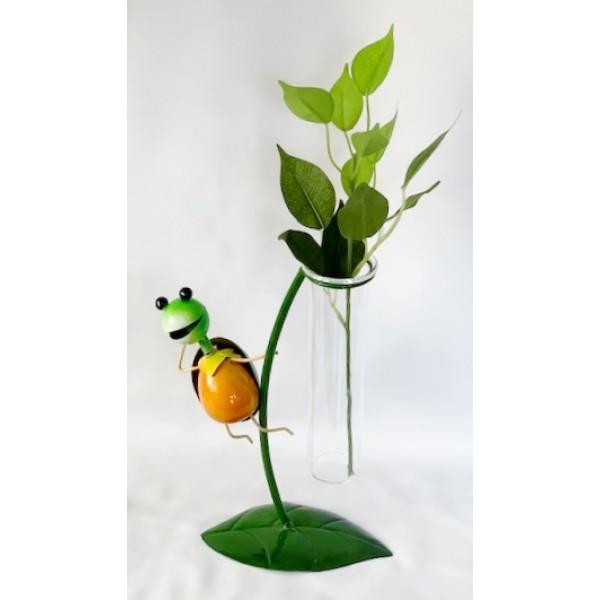 Glass/metal bud holder - Tortoise