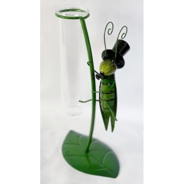 Glass/metal bud holder - Grasshopper