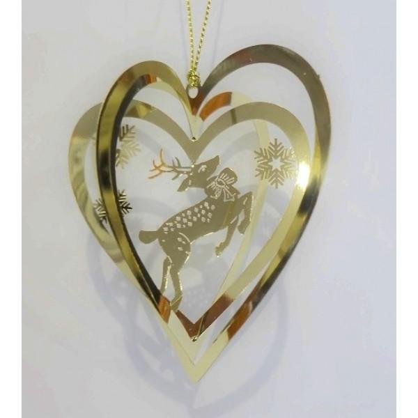 Heart reindeer gold colour
