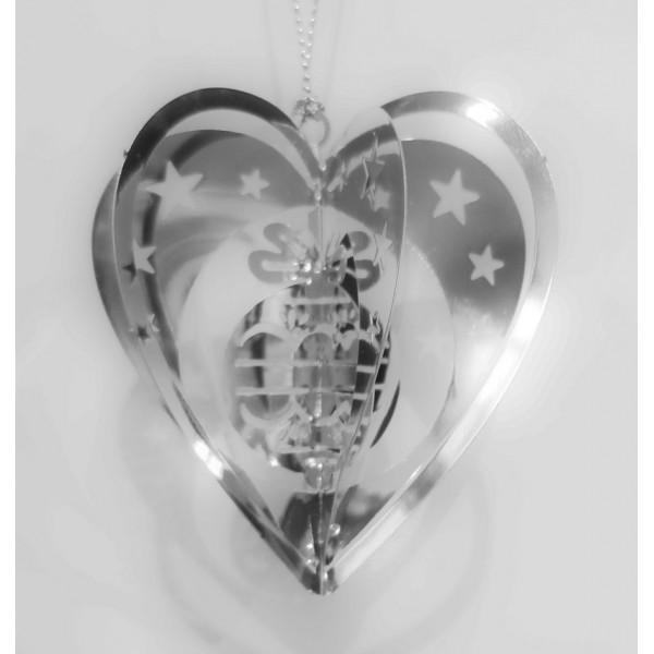 Heart ball silver colour