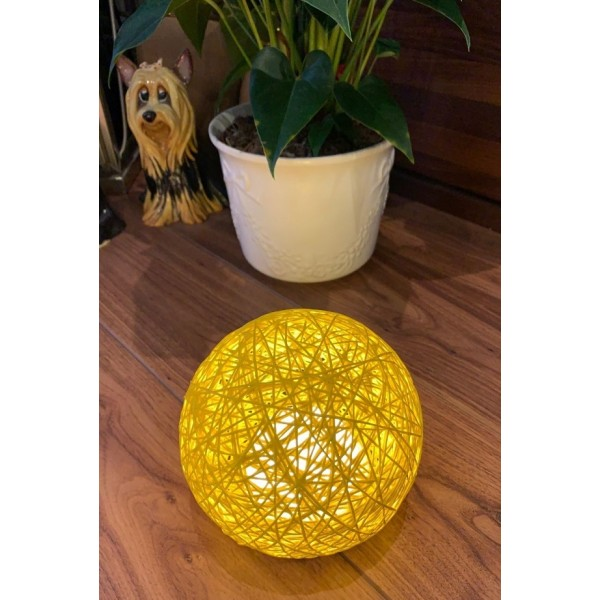 Rattan ball touch lamp - Yellow