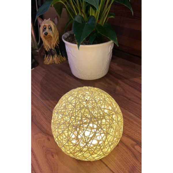 Rattan ball touch lamp - Ivory