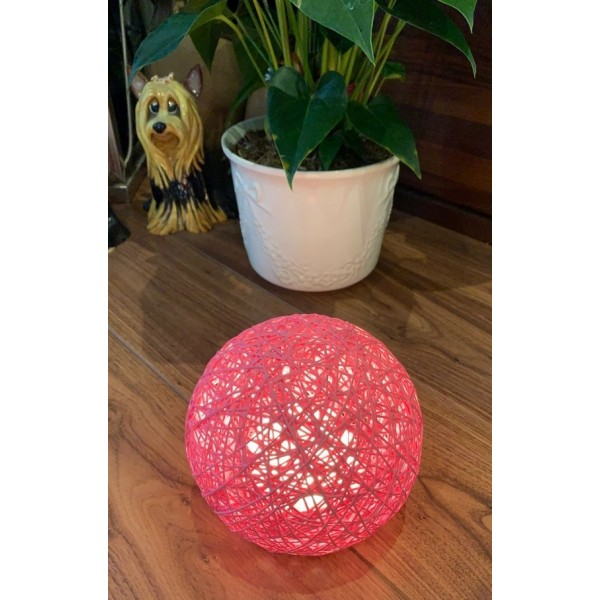 Rattan ball touch lamp - Pink