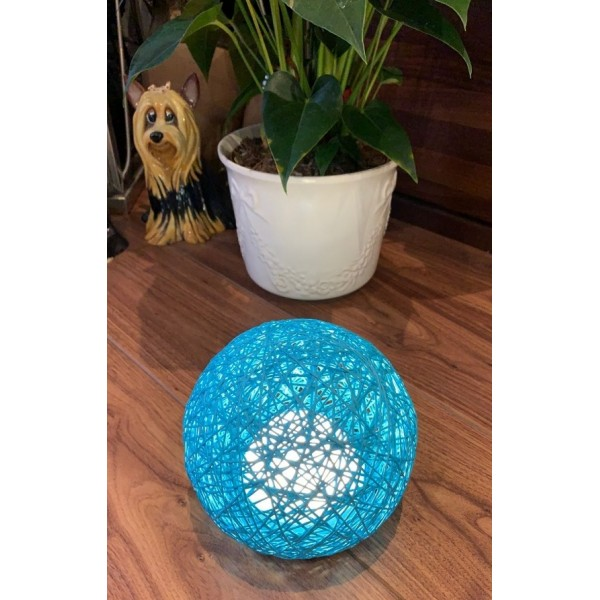Rattan ball touch lamp - Blue