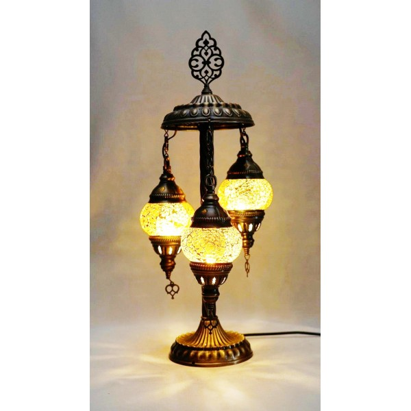 Mosaic table lamp with 3 amber glass globe
