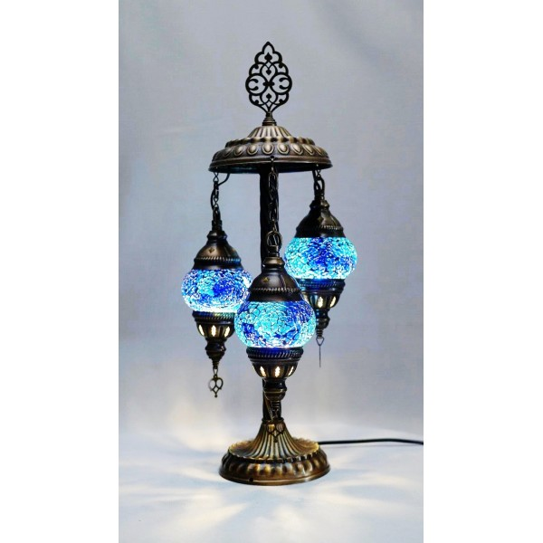 Mosaic table lamp with 3 blue glass globe