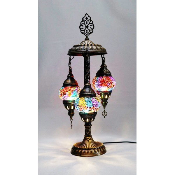 Mosaic table lamps with three glass globe - NEW