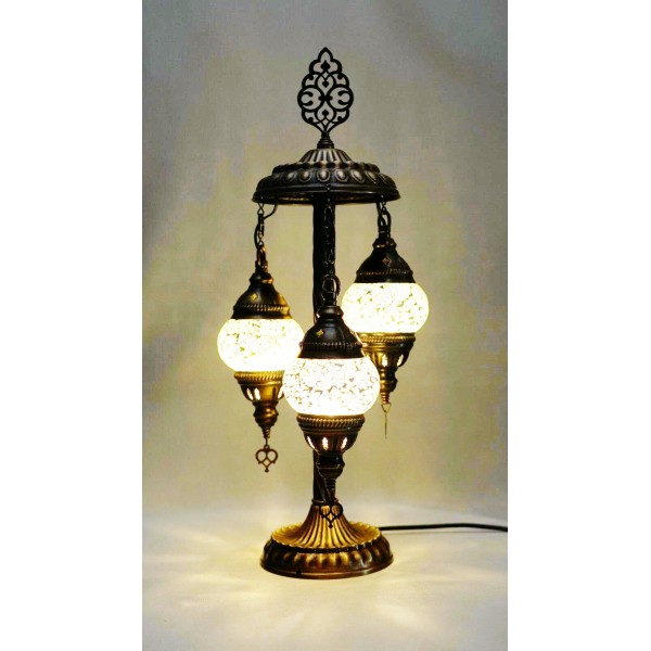 Mosaic table lamp with 3 white glass globe