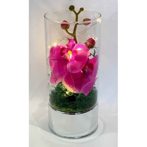 LED lit glass vases with artificial flowers - NEW PRODUCT