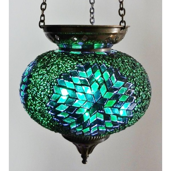 Hanging mosaic t-lite candle holders